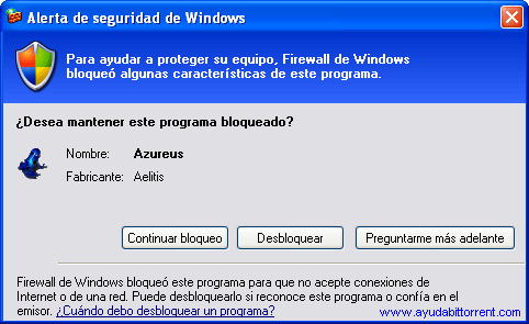 Firewall Windows Azureus Vuze